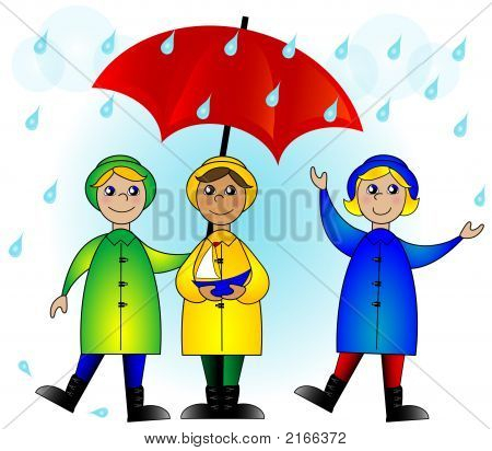 Kids With An Umbrella