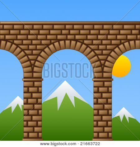 vector ancient stone bridge viaduct aqueduct
