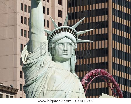 LAS VEGAS NEVADA - MARCH 15: Headlines are made when the US Postal Service mistakenly uses an editorial photo of the Statue of Liberty replica in a stamp design in Las Vegas Nevada on March 15, 2011.
