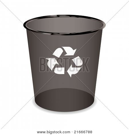 Black transparent trash or waste recycle bin