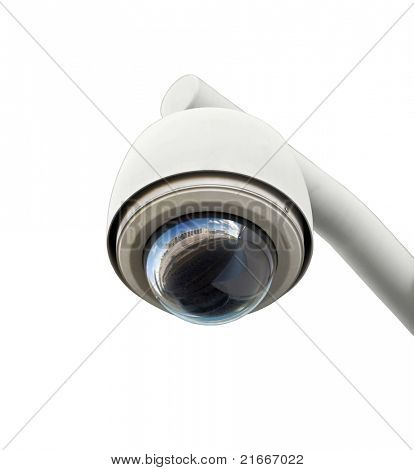 High tech overhead security camera isolated on white.