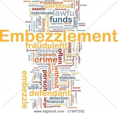 Background concept wordcloud illustration of embezzlement