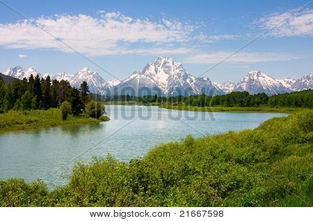 Mt. Moran in Oxbow Bend im Grand-Teton-Nationalpark, Wyoming.
