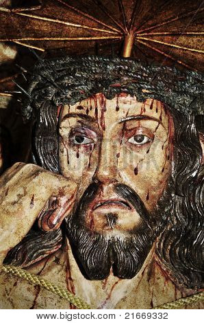 closeup of a figure of Jesus Christ
