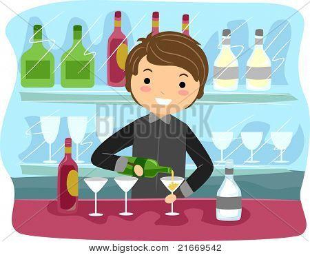 Beispiel für ein Barkeeper bei der Arbeit