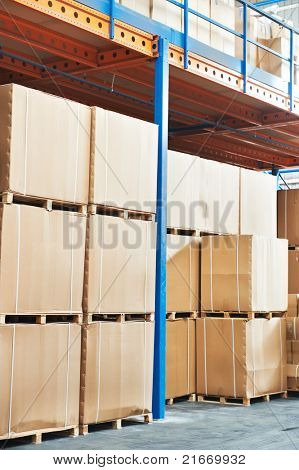 warehouse cardboard boxes stockpile arrangement outdoors