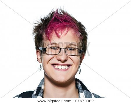 Close-up portrait of cool young expressive woman smiling in studio on white isolated background