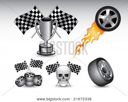 Racing tires, flags, trophy, and skull on white background