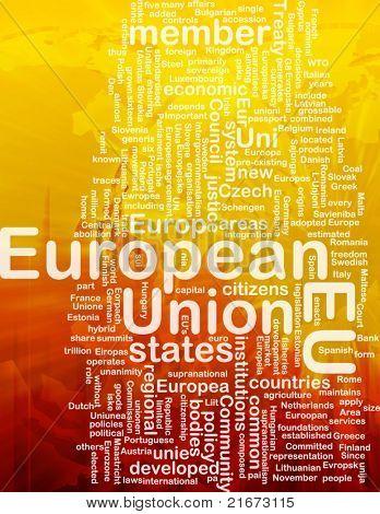 Word cloud concept illustration of EU European Union international
