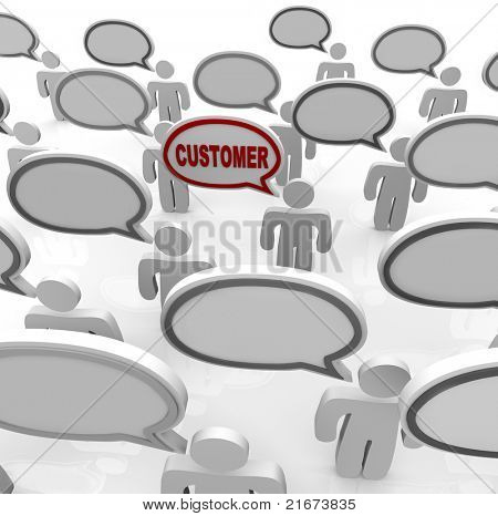 Many people speak with speech bubbles that are blank and one with the word Customer in it, representing the ability to focus on the needs of a niche targeted consumer in a crowded marketplace