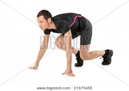 A young athlete ready to run isolated on white background