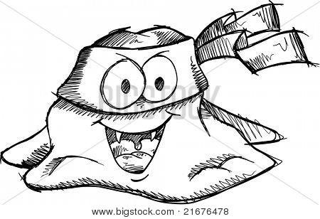 Doodle Sketch Bandit Turd Vector Illustration