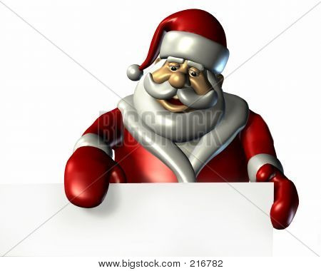 Santa With Edge Of Blank Sign