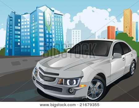 City panoramic landscape with modern powerful sports car. Vector illustration.