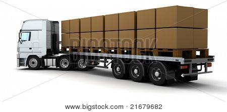 3D Render of HGV Truck Shipping Cardboard Boxes