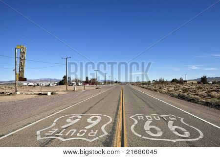 Decayed portion of historic Route 66 in Bagdad California.