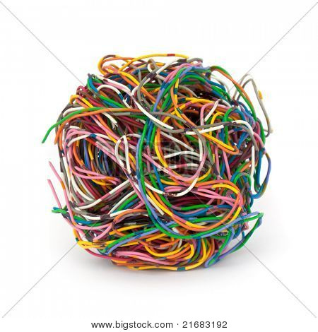 tangled wire isolated on white background