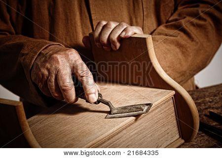 closeup image on hands of craftman