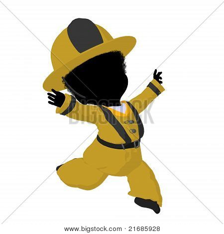 Little African American Firefighter Girl Illustration Silhouette