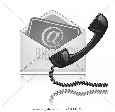 """Contact Us"". Phone receiver and e-mail. Raster version"