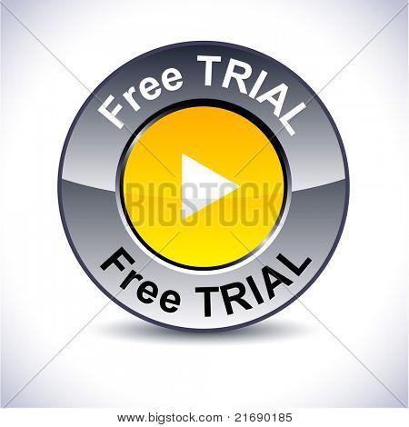 Free trial round metallic button. Vector.