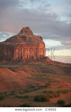 Butte At Sunset