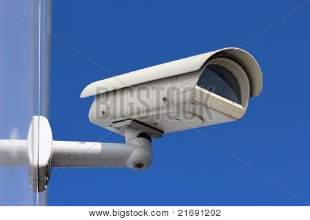 White Cctv Camera Under Blue Sky