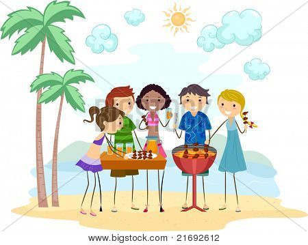 Illustration of Friends Having a Barbecue Party