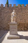 Ancient Statue Of Carlos V Inside Bisagra Gate In Toledo City poster