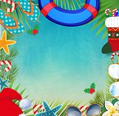 Merry Christmas And Happy New Year Border On A Warm Climate poster