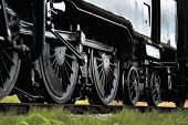 picture of train-wheel  - Close up of the wheels on a steam train - JPG