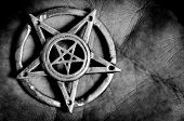 stock photo of pentacle  - Pentagram In Hand Macro Shot in black and white - JPG