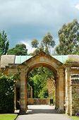 pic of hever  - Hever castle garden Hever England with cloudy sky - JPG