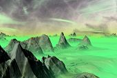 Alien Planet. Rocks And Sky. 3D Rendering poster