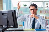 Businessman suffering from excessive armpit sweating poster