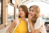 Beautiful women shopping together in strip mall poster