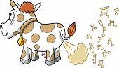 stock photo of farting  - Farting Music Cow Vector Illustration - JPG