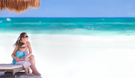 pic of family vacations  - Panoramic photo of mother and son at tropical beach in Tulum Mexico - JPG
