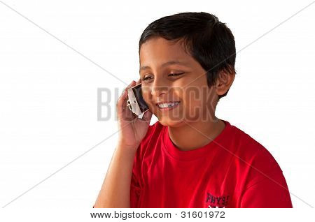 Asian, Indian, Bengali Young Boy Talking On Mobile Phone, Smilin