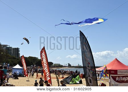 Skydiver landing at the beach