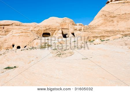 Ancient Tombs And Caves In Bab As-siq Near City Petra