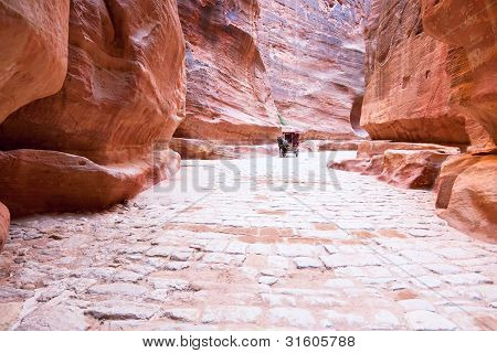 The Siq - narrow gorge to ancient city Petra Jordan