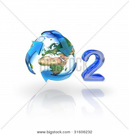 Oxygen, O2, Eco Concept. Globe With Recycle Arrows