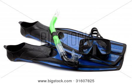 Mask, Snorkel And Flippers With Water Drops