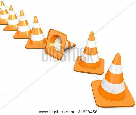Diagonal Line Of Traffic Cones With One Fallen Cone
