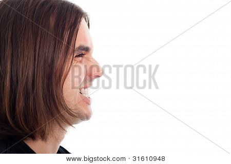 Profile Of Happy Laughing Man Face