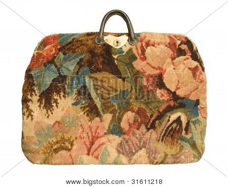 Antique Carpetbag With A Flower Pattern