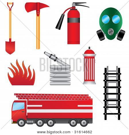 Set Of Fire Prevention Objects.