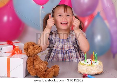 Funny Little Girl Celebrates Her Birthday