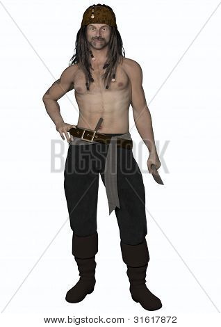 Male Pirate Holding Knife